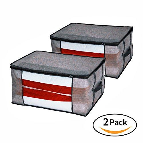 Homyfort 2 Stück Aufbewahrungstasche für Bettdecken und Kissen - Kleidung Lagerplätze , Bettwäsche, Decken Organisator Lagerbehälter , Haus bewegen Tasche, Feuchtigkeit geschützt, Grau, STROBAG12 (Kleidung Aufbewahrungstasche)