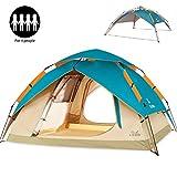 ZOMAKE Wasserdichtes automatisches Campingzelt 2 3 4 Personen - 4 Jahreszeiten Backpacking Zelt Portable Dome Quick Up Zelt (Blauer See)