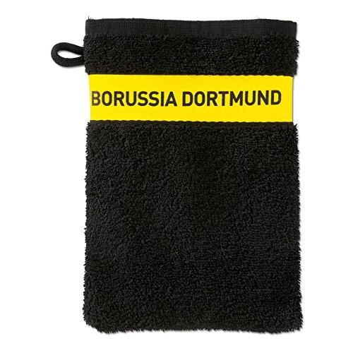 Borussia Dortmund BVB Waschhandschuh, Baumwolle, Schwarz/Gelb, 20 x 10 x 1 cm