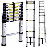 Smartlife Escalera telescópica de aluminio, multifuncional, aluminio grueso, portátil, segura