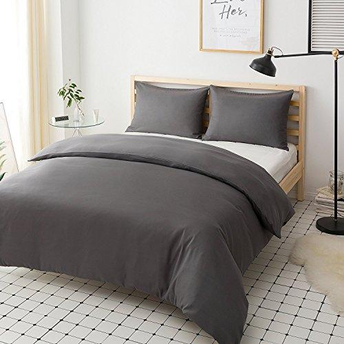 Mohap Non-Iron Duvet Cover Set 3 PCS King Plain Brushed Microfiber Bedding Duvet Cover with Pillowcases (Grey)