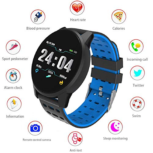 LayOPO Tracker Fitness Frequenza Cardiaca, Bluetooth Smartwatch Sbloccato Smartwatch per Uomo Donna Kids, Touch Screen Pedometro Sport Wrist Watch per Telefoni Android iOS