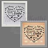 Beleuchteter Bilderrahmen mit Hochzeitsdaten