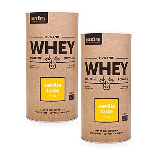 Purasana 2x400g Bio Whey Protein-Pulver von österreichischen Kühen aus Bio-Haltung - hervorragende Milch und Molkequalität - Vanille - Sparpaket (Bio-protein-milch)