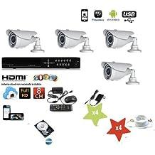 KIT VIDEOSORVEGLIANZA DVR 8 CANALI 4 TELECAMERA INFRAROSSI 1200 TVL +DVR+ALIMENTATORE 1200 + Hard Disk (Tvl Telecamera Bullet)