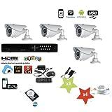 KIT VIDEOSORVEGLIANZA DVR 8 CANALI 4 TELECAMERA INFRAROSSI 1200 TVL +DVR+ALIMENTATORE 1200 + Hard Disk 500 gb