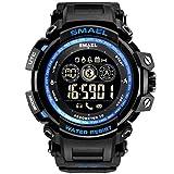 Digital-Uhr für Jugend Junge und Mädchen, Outdoor-Sport-Uhr 50 Meter wasserdicht Stoßfest, Armbanduhr Multifunktions-Uhr mit Bluetooth-Verbindung, Alarm, Schrittzähler usw. (Schwarz-Golden) (B)
