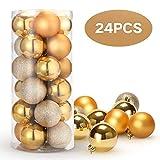 Unigoods 24 Piezas Bolas de Navidad 6 cm Bolas de árbol de Navidad Adorno para Colgar en...