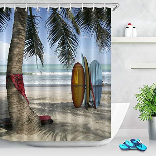 OqgsMindyzk Blauer Himmel weiß Meer weiß Spray gelb Strand Surfbrett Kokospalme grau Kofferraum roter Schal Duschvorhang dekorative wasserdichtes Gewebe ist langlebig (Gewebe-spray-farbe Rote)