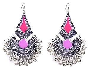 Sansar India Oxidized Silver Plated Kuchi Afghani Tribal Dangler Chandbali Earrings for Girls and Women