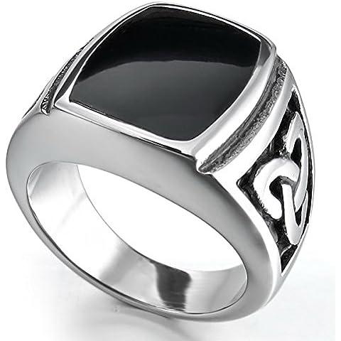 MunkiMix Acero Inoxidable Esmalte Enamel Anillo Ring Plata Negro Celta Celtic Nudo Knot Sello Triquetra Vendimia Vintage Retro
