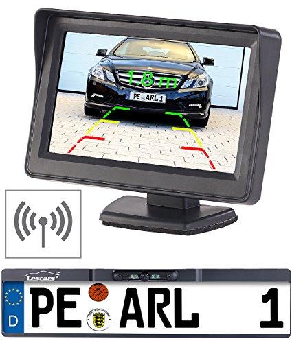 Lescars Rückfahrkamera: Funk-Rückfahr-Kamera im Nummernschild-Halter mit 10,9-cm-TFT-Monitor (Funk Rückfahrkameras)