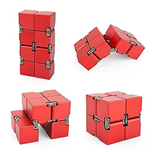 KENROLL Infinity Fidget Magic Cube Sensory Toy Alluminio Puzzle Box Design Anti Stress e sollievo di ansia Promuove la messa a fuoco, la chiarezza (Rosso) - 6