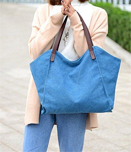 Wealsex Canvas handtasche Freizeit einfach Damentasche 37/31/3cm Blau