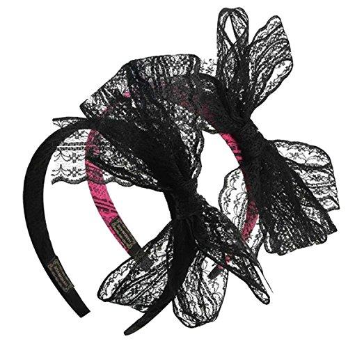 OPEAR 2 PCS 80er Jahre Party Lace Bow Stirnband Haarband 80er Jahre Kostüme Zubehör für Frauen (80er Haar Band Kostüme)