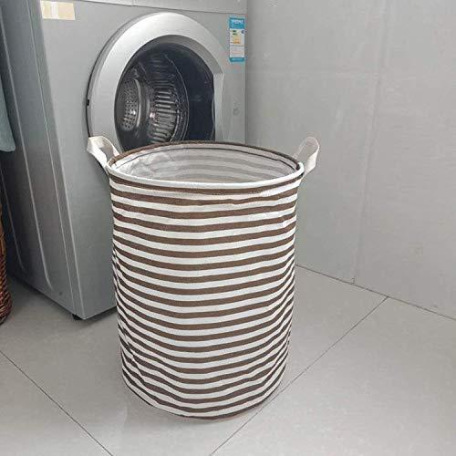 Gu3Je Foldable Portable Waterproof Cotton Linen Storage Storage Basket Dark Brown 35x45cm -