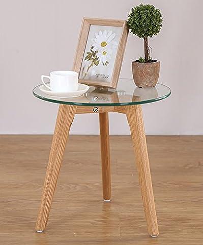 Couchtisch Massivholz-Glas-Runder Tisch Einfache moderne gehärtete Glas Kleine runde Tisch-Ecktische Regal