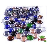 NEEZ Bolas de vidrio redondeadas decorativas Cuentas Nuggets Gemas para decorar acuarios Floreros y hogar (color mezclado-200pcs-1kg)