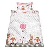 TupTam Kinderbettwäsche Set Baumwolle 2 teilig, Farbe: Eulen Rosa, Größe: 135x100 cm