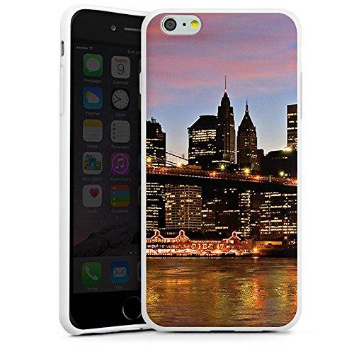 Apple iPhone X Silikon Hülle Case Schutzhülle New York Night Brücke Stadt Silikon Case weiß