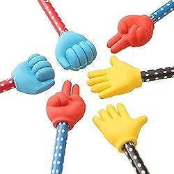Wakerda - 6 lápices escolares creativos y divertidos lápices de mano con goma borradores (2 tijeras, 2 piedras, 2 ropa)