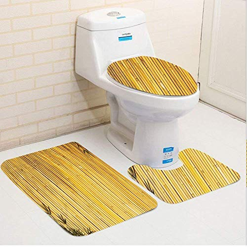 IconSymbol Bamboo Tall Bamboo Stems and Leaves Oriental Nature Wood Image Natural Zen Asian Wildlife Yellow Bathroom Carpet Rug,Non-Slip 3 Piece Bathroom Mat Set -