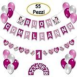 Decorazioni Compleanno Festa Bambina Festoni Compleanno Scritta  Buon Compleanno  da 1 Anno a 8 Anni Festone Unicorno Set Addobbi Feste Bandierine Palloncini Colorati Rosa Happy Birthday
