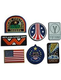 Set de 7 Parches de insignia, con diseños inspirados en películas alienígenas: Weyland, Nostromo, USCM, Infantería de Marina colonial; se aplican con la plancha [AL10]