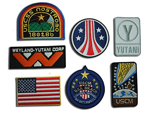 Alien Film Weyland Nostromo USCM Colonial Marines Eagle Bügelbild Aufnäher Applikation Emblem Crew Patch Set, 7Eisen auf Abzeichen [AL10] (Colonial Marine Kostüm)