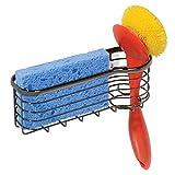 mDesign Schwammablage mit Saugnäpfen für Küchenspüle - Spülorganizer zur cleveren Aufbewahrung von Bürste, Topfschwamm, etc. - Spülbeckenablage auch für das Bad geeignet - Schwarz/Chrom