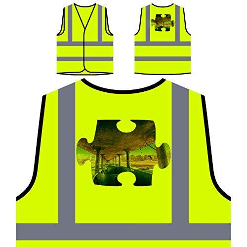 Puzzle Skate erste Punktperspektive Personalisierte High Visibility Gelbe Sicherheitsjacke Weste e830v (Erste Skates)