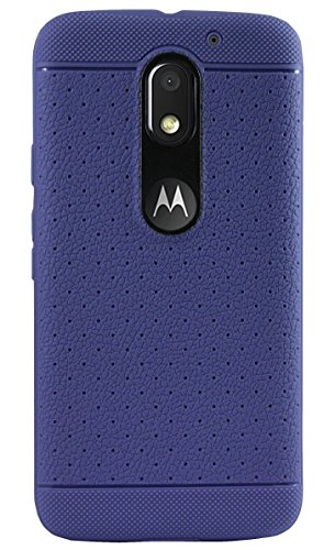 Parallel Universe Leather like Textured TPU Dotted Back Case Cover for Moto E3 Power (3rd Generation) - Ink Blue