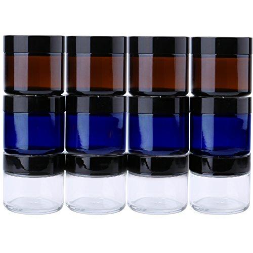 Zwei Unze rundes Glas (Zwölf Packungen) - Leerer kosmetischer Behälter mit Zwischenlage, schwarze Abdeckung und Probentank des Glas mit Etikett