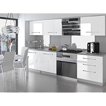 naka24 NEU Komplette Küche KOMPAKTO II 180 cm Hochglanz Verschiedene  Farbkombinationen (Weiss)