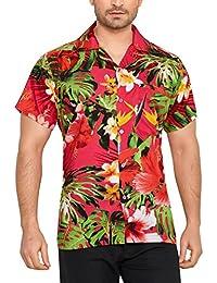 CLUB CUBANA Camisa Hawaiana Florar Casual Manga Corta Ajuste Regular para  Hombre ef4451a317