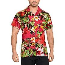 07e931fa8 CLUB CUBANA Camisa Hawaiana Florar Casual Manga Corta Ajuste Regular para  Hombre