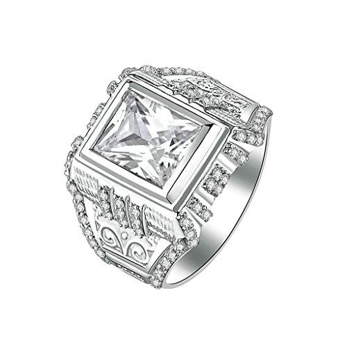Daesar Silberring Herren Ring Silber Trauring Benutzerdefinierte Ring Platz Strass Ring Veins Engraved Größe:66 (Schmuck Benutzerdefinierte Kostüme Design)