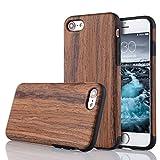 LCHULLE iPhone 5/5S/SE Hülle, Premium Handmade [Echtes Holz Rücken Flexibel] TPU Silikon Ultra Slim Back Schutzhülle-Lila Sandelholz Farbe