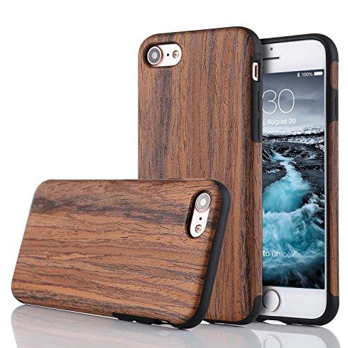 LCHULLE Kompatibel mit iPhone 5/5S/SE (4,0 Zoll), Premium Handmade [Echtes Holz Rücken Flexibel] TPU Silikon Ultra Slim Back Schutzhülle-Lila Sandelholz (Fall-gummi-holz Iphone 5)