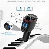 ZYX Bluetooth FM Transmitter Auto Musik MP3 Player Freisprecheinrichtung Zigarettenanzünder Power Adapter Splitter USB Ladegerät,Black