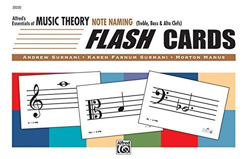 Portada del libro Alfred's Essentials of Music Theory: Note Naming Flash Cards by Surmani, Andrew, Surmani, Karen Farnum, Manus, Morton (2001) Cards