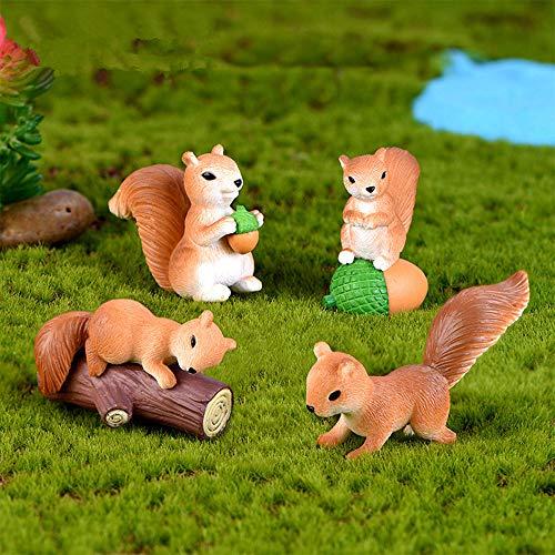 Barley33 Eichhörnchen Figur, 4Pcs Cute Mini Eichhörnchen Tier Miniaturfiguren Fairy Garden Ornaments -