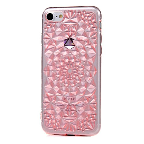 GrandEver iPhone 7 Weiche Silikon Hülle Transparent Rückschale TPU Bumper Durchsichtig Schutzhülle mit Sonne Blume Muster Kristallklare Handytasche Anti-Kratzer Stoßdämpfung Ultra Slimcase Rückseite S Rosa