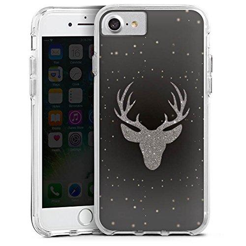 Apple iPhone 8 Bumper Hülle Bumper Case Glitzer Hülle Hirsch Deer Glitter Bumper Case transparent