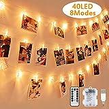 LED Fotoclips Lichterkette, Warmweiß, Nasharia 5 Meter/Lichterketten-8 Modi 40 Foto-Clips, USB/Batteriebetrieben Stimmungsbeleuchtung, Dekoration für Wohnzimmer, Weihnachten, Hochzeiten, Party