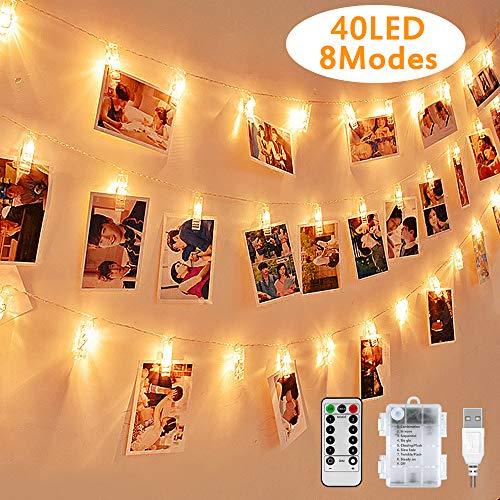 LED Fotoclips Lichterkette, Warmweiß, Nasharia mehrweg 5 Meter/Lichterketten-8 Modi 40 Foto-Clips, USB/Batteriebetrieben Stimmungsbeleuchtung, Dekoration für Wohnzimmer, Weihnachten, Hochzeiten, Party -