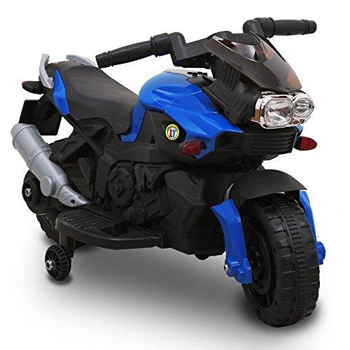 Moto Elettrica Per Bambini Sprint 6V Blu Controllo a Pedale Luci e Suoni Bakaji