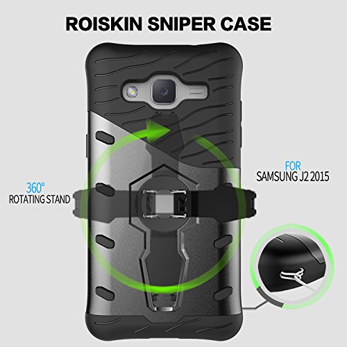 YHUISEN Galaxy J2 2015 Case, Hybrid Tough Rugged Dual Layer Rüstung Schild Schützende Shockproof mit 360 Grad Einstellung Kickstand Case Cover für Samsung Galaxy J2 2015 ( Color : Black ) Biue