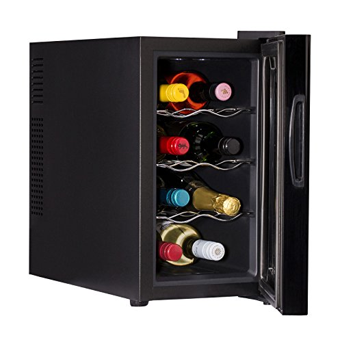 Ovation Wine Bottle and Drinks Thermoelectric Black Vertical Cooler / Fridge with 8 Bottle / 21L Capacity & LED Temperature Control Panel