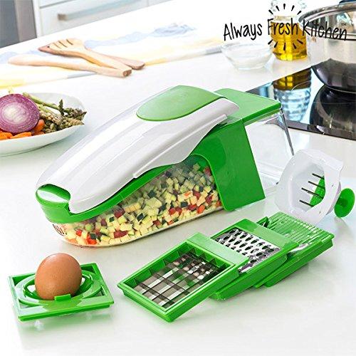 Always fresh kitchen taglia e pela verdura, acciaio inox, verde, 13x 34x 13cm, 6pezzi